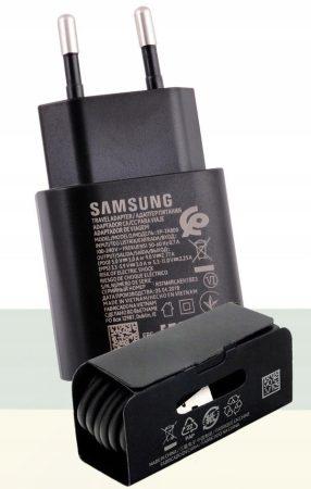 Samsung EP-TA800EWE A70 A80 Note10 Note10 Plus fekete gyári 3A hálózati gyors töltőfej Type-C csatlakozóval + DG977BWE gyári Type-C adatkábel