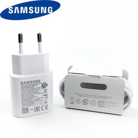 Samsung EP-TA800EWE A70 A80 Note10 Note10 Plus fehér gyári 3A hálózati gyors töltőfej Type-C csatlakozóval + DG977BWE gyári Type-C adatkábel